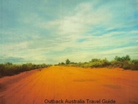 A typical Australia Outback track, red and dead straight