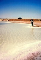 A small salt lake along the Stuart Highway