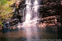 The Australian Outback is not all desert. Swimming at a tropical waterfall