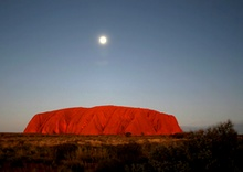 Full moon and sunset at Ayers Rock