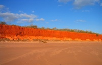 The red line above the orange shows the path of a river on these ancient rocks near Broome.