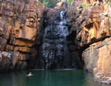 Swimming at a waterfall in Katherine Gorge National Park