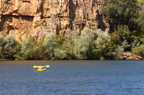 Lonely canoe in Katherine Gorge