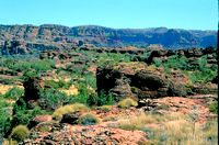 View over sandstone hills in Keep River National Park