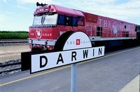 The Ghan arriving in Darwin, a new chapter for train travel in Australia.