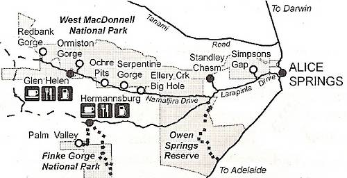Map of the West MacDonnell Ranges