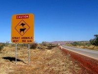 Warning sign on Australian Outback road
