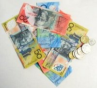 notes and coins of Australian currency