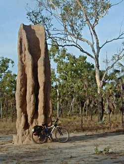 Bike leaning against termite hill in Lichfield National Park