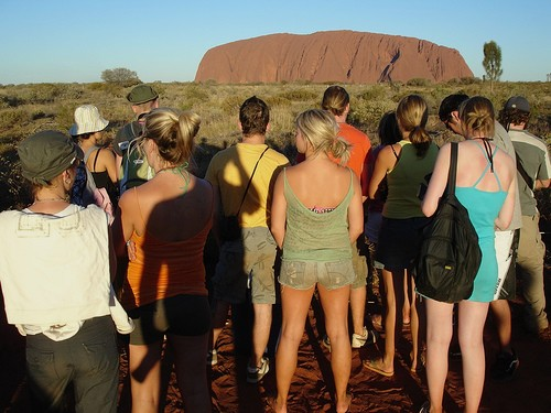 Ayers Rock sunset with the crowds