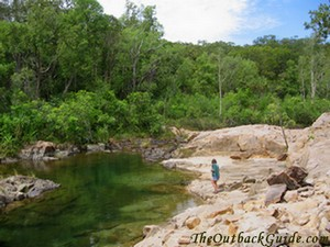 Near the main pool of Barramundi Gorge