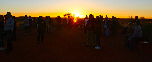 Crowd at sunset at Uluru